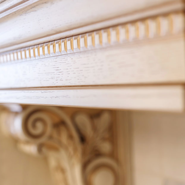 wood mantel close-up